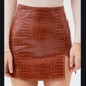 Motel Tan Croc Mini Skirt NWT